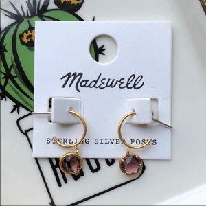 Madewell Glass Charm Mini Hoop Earrings